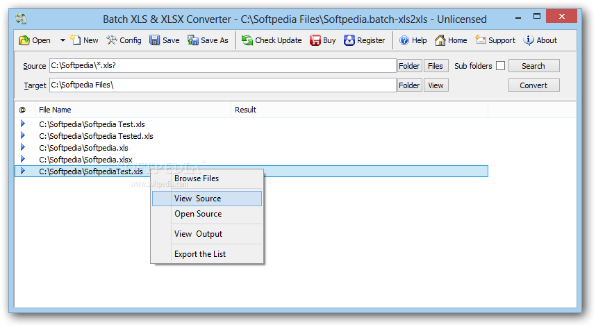 скриншот  Batch XLSX TO XLS Converter 2014.6.303.1671